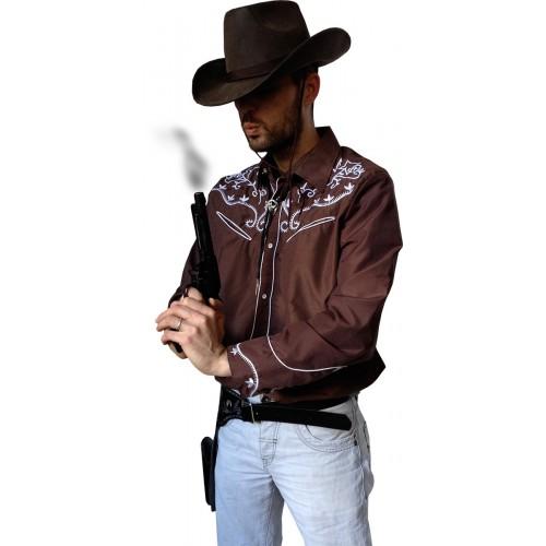 Chemise cowboy brune