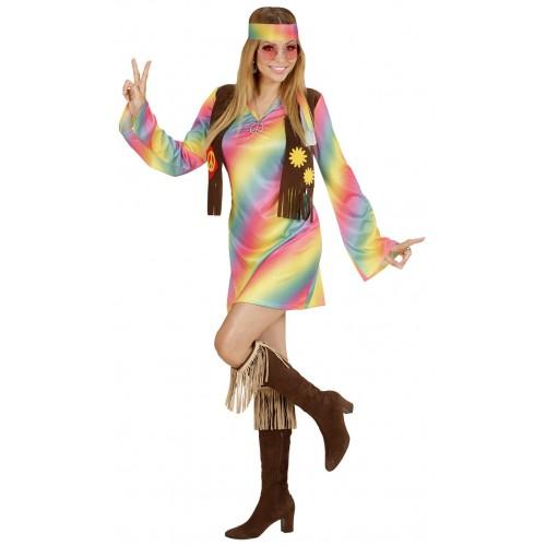 Femme hippie arc en ciel