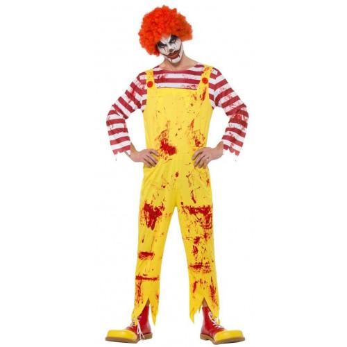 Combinaison adulte de clown tueur jaune et rouge