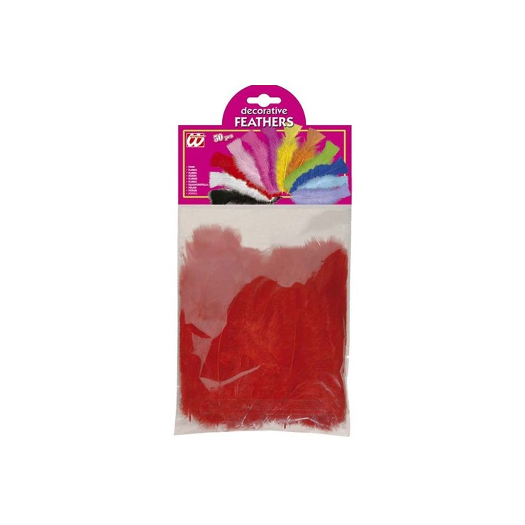 50 plumes rouges 10 cm