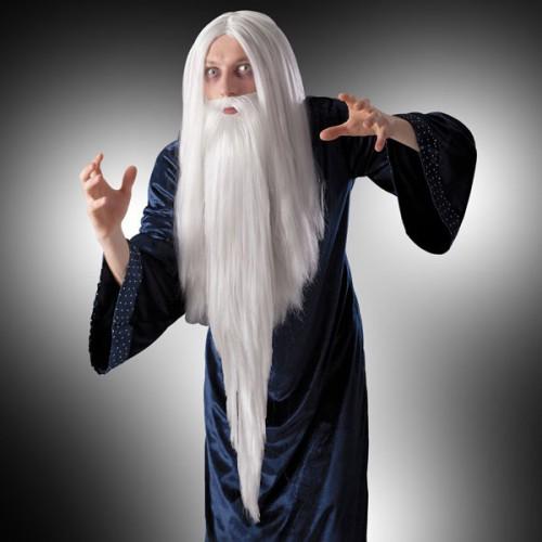 Perruque mage noir avec barbe et moustache
