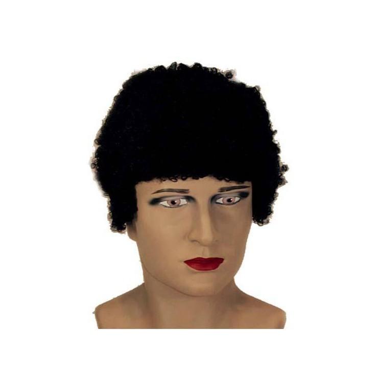 Perruque courte noire bouclée