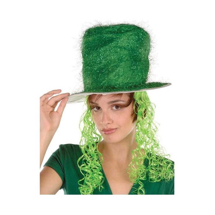 Haut de forme vert avec perruque