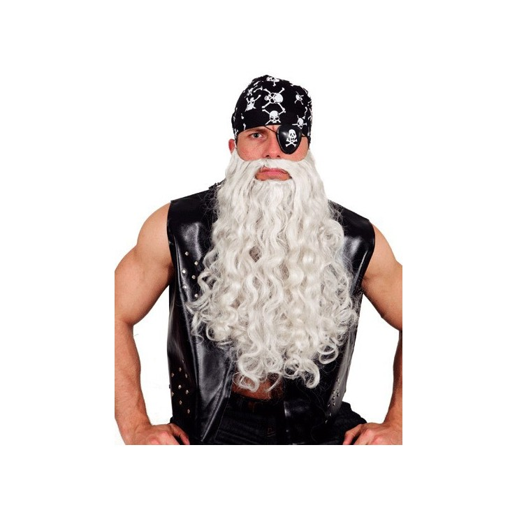 Longue barbe grise ondulée
