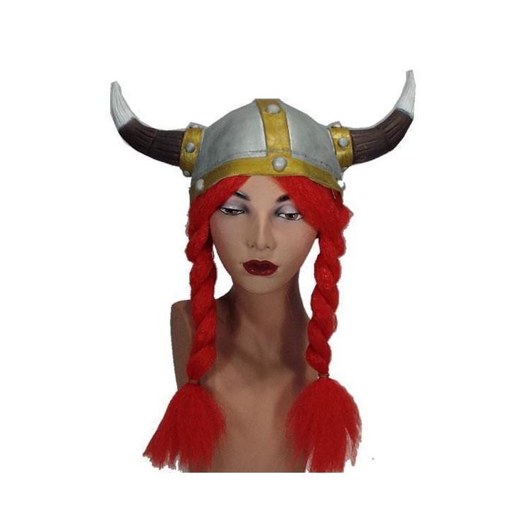 Casque viking avec nattes