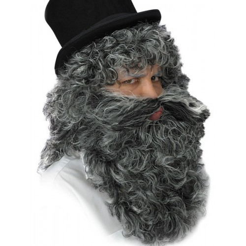 Perruque et barbe grisonnante