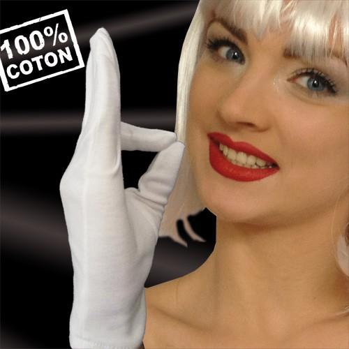 Gants blancs 100% coton taille 7