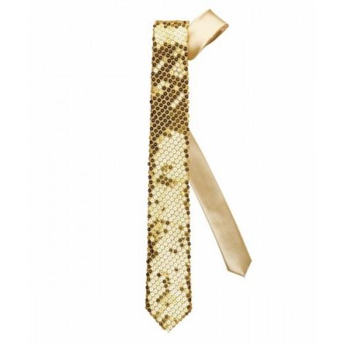 Cravate pailletée or