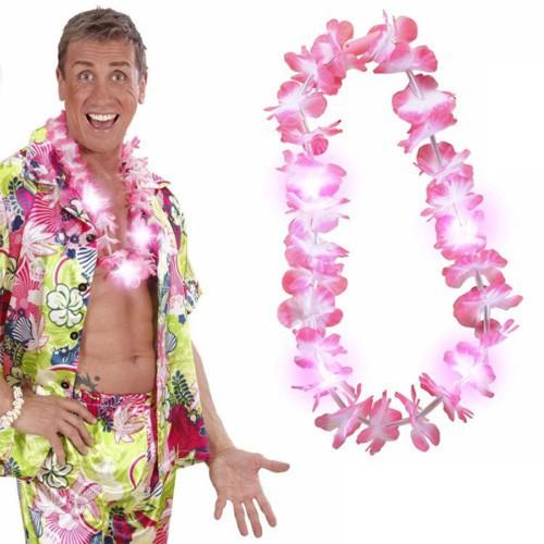 Collier Hawaï rose clignotant