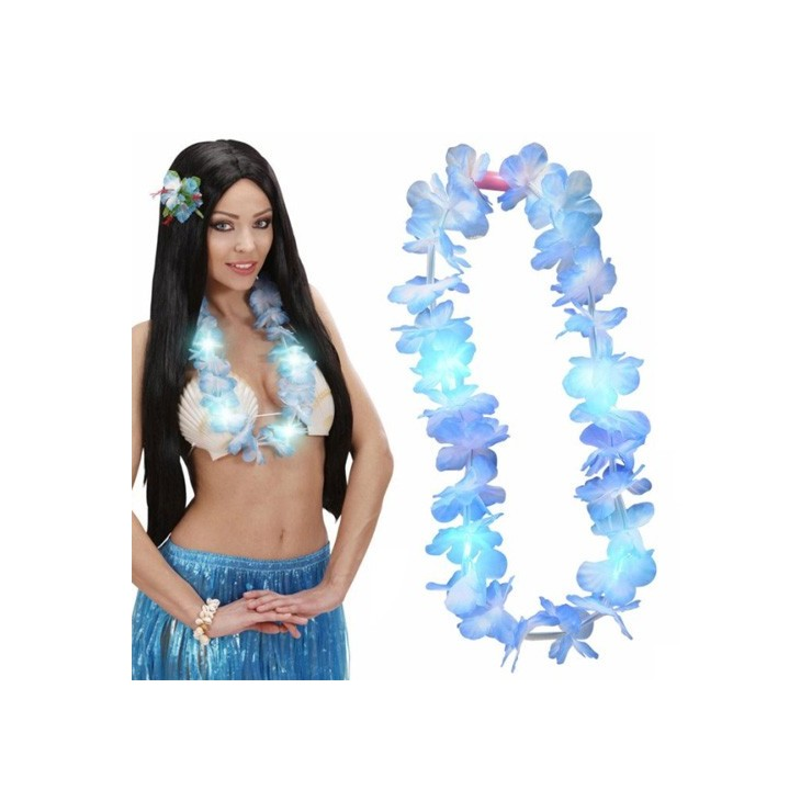 Collier Hawaï bleu clignotant