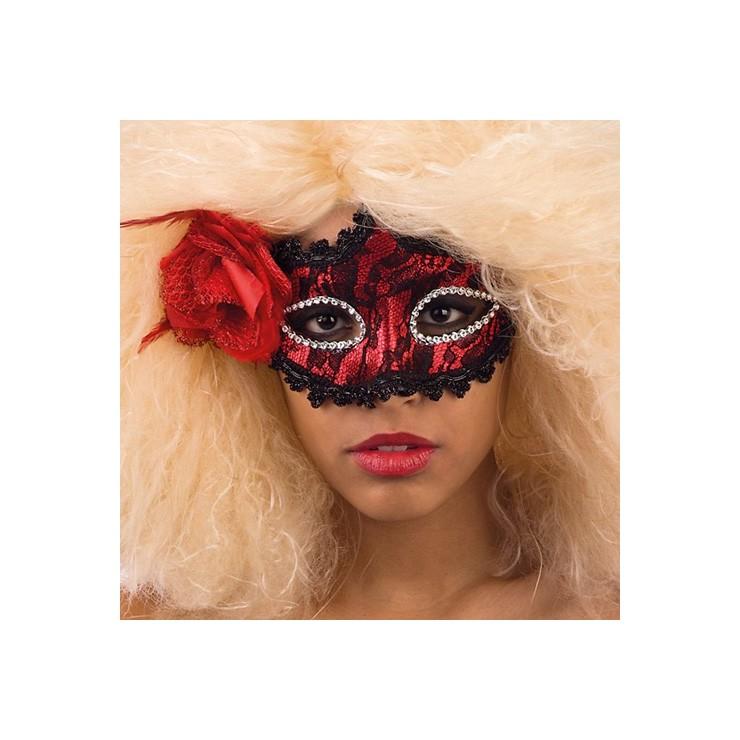 Loup rouge dentelle noire