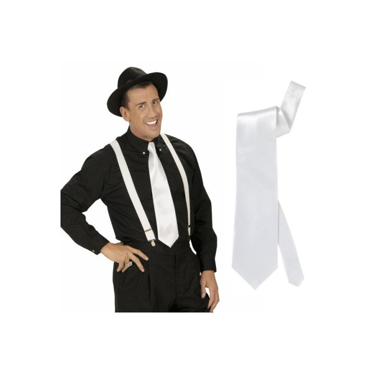 Cravate blanche satinée