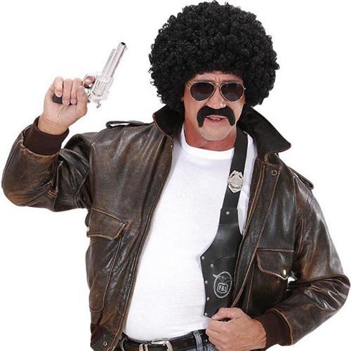 Perruque 70's flic + moustache + lunettes