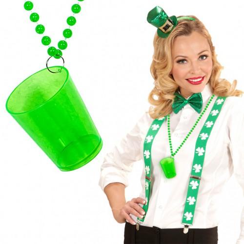 Collier verre à shot vert