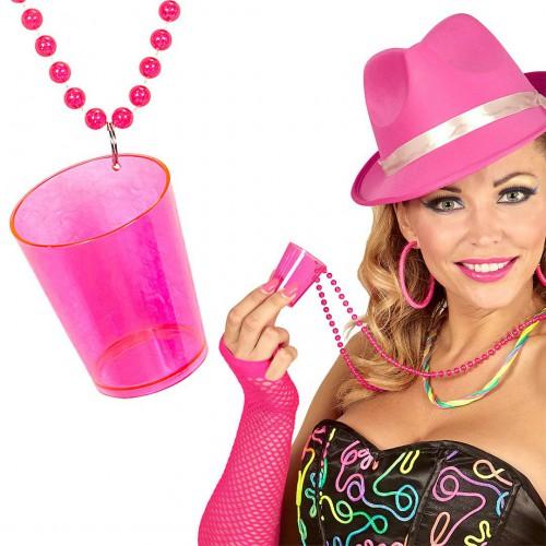 Collier verre à shot rose