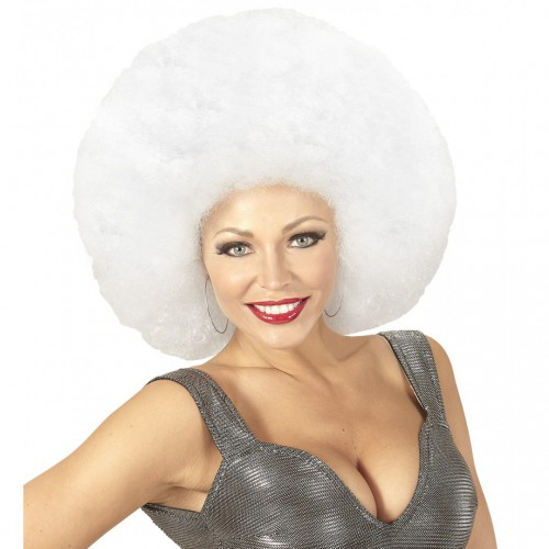 Perruque afro blanche extra volume