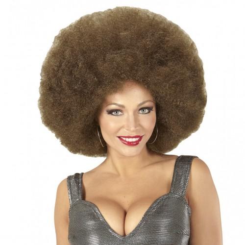 Perruque afro brune extra volume