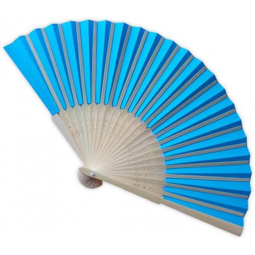 Eventail bambou bleu