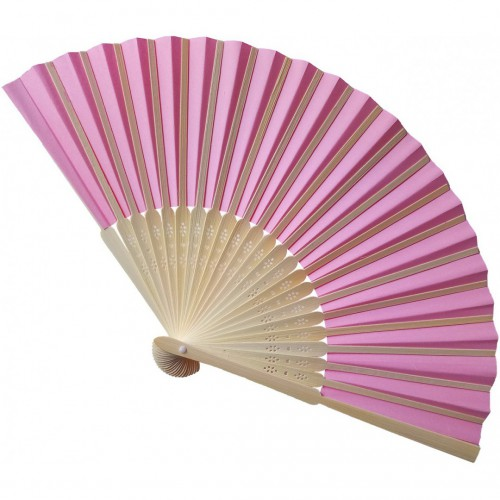 Eventail bambou rose