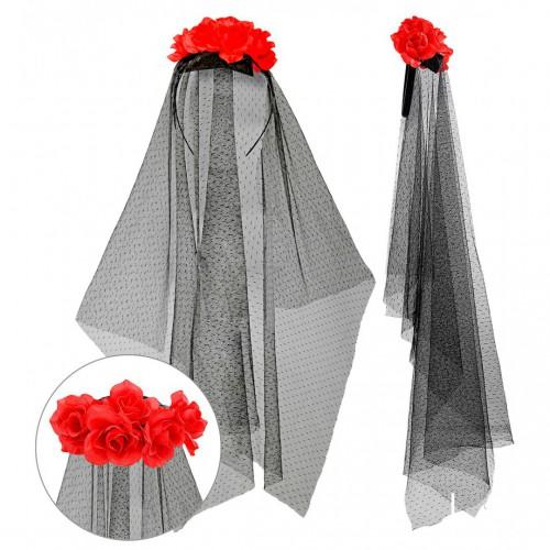 Serre-tête voile noir avec roses rouges