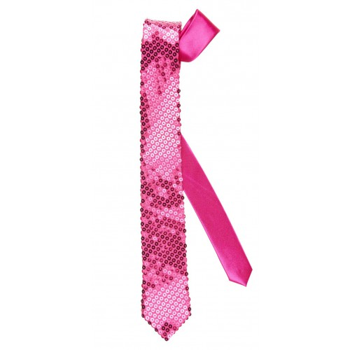 Cravate rose pailletée