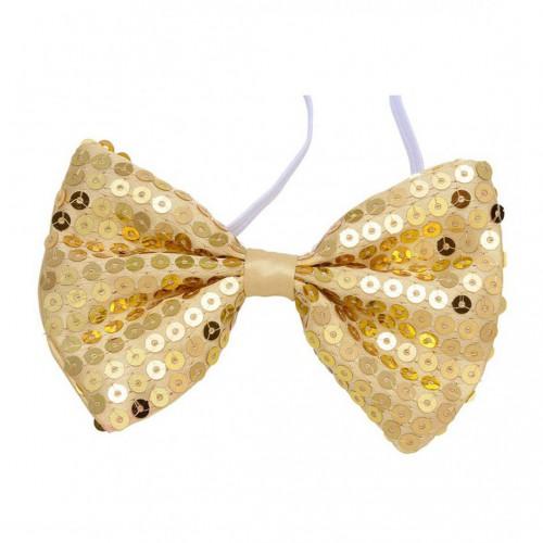 Noeud papillon pailleté or