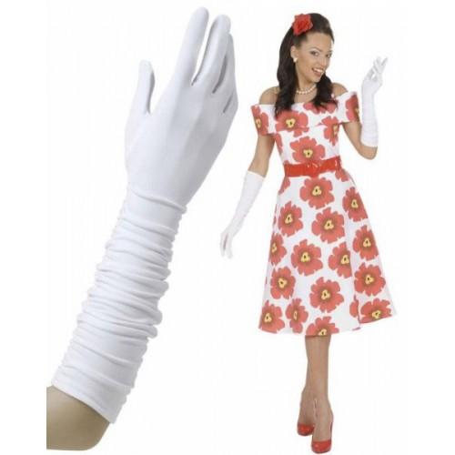 Gants blancs plissés 37 cm