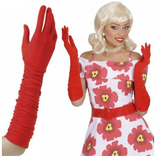 Gants rouges plissés 37 cm