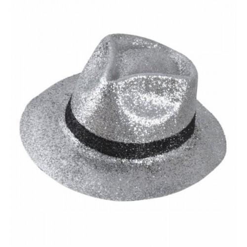 Chapeau Borsalino argenté à paillettes