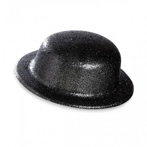 Chapeau melon pailleté noir