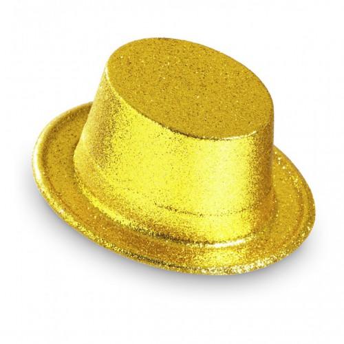 Haut de forme pailleté or