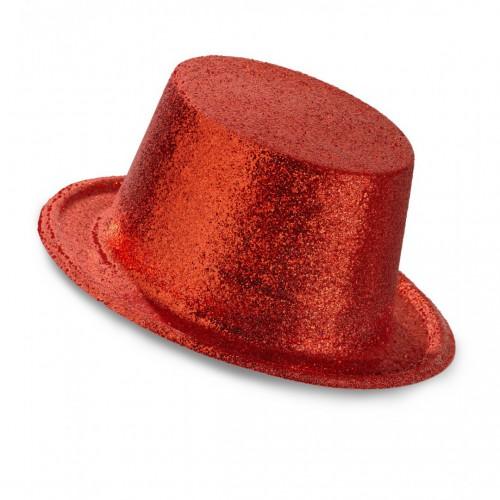 Haut de forme pailleté rouge