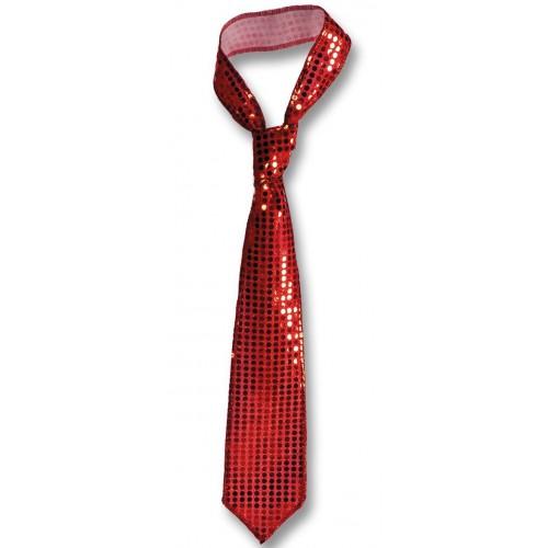 Grande cravate pailletée rouge