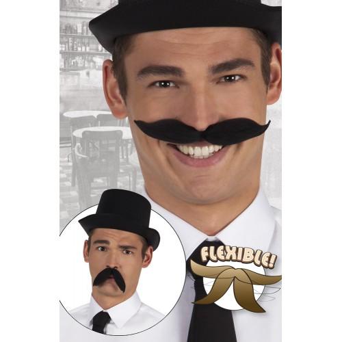 Moustache noire flexible