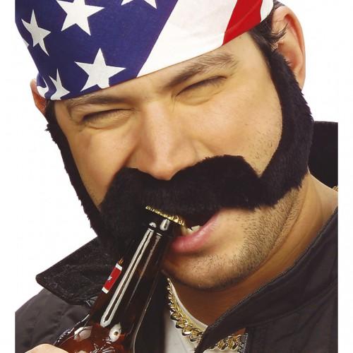 Moustache biker avec favoris