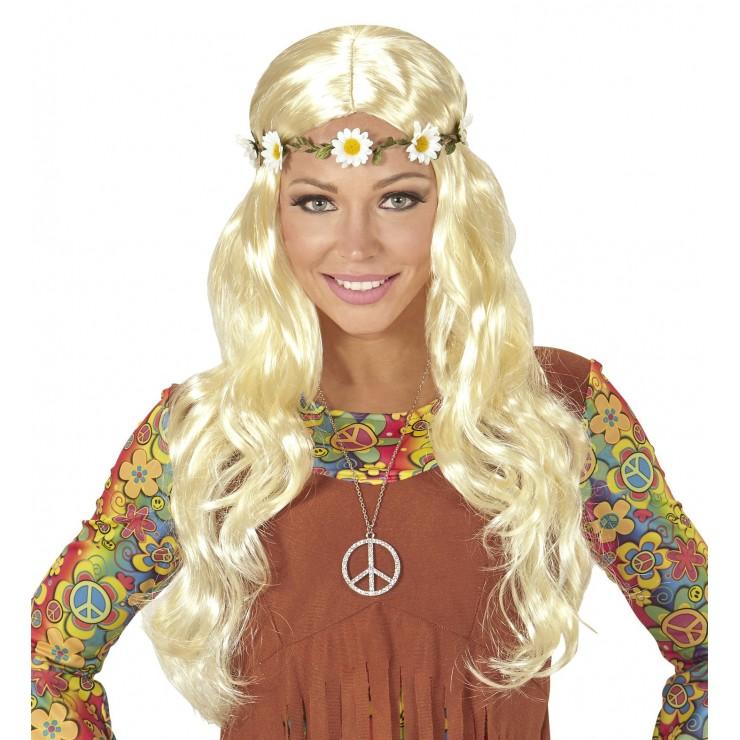 Perruque hippie avec bandeau de fleurs