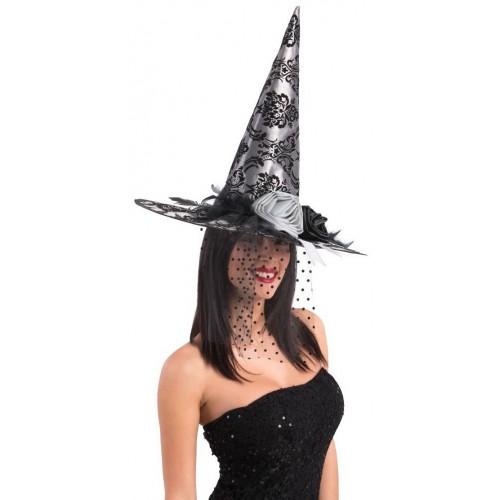 Chapeau de sorcière gris avec roses