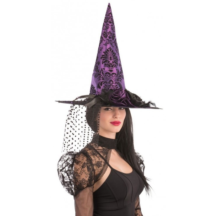 Chapeau de sorcière violet